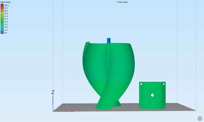 Savonius wind turbine + 1X rollerblade bearing // Eolienne de type Savonius hélicoïdale + 1X roulement de roller