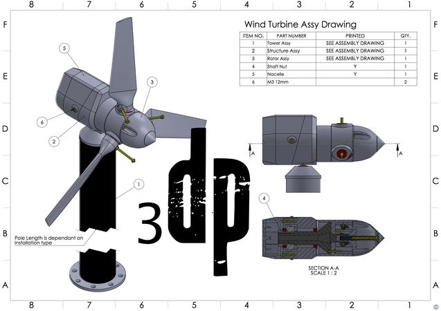 5 Watt 3d printable Wind Turbine
