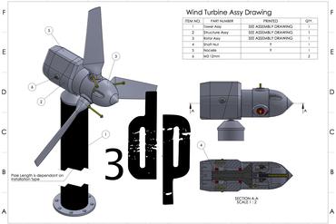 YouMagine – 5 Watt 3d printable Wind Turbine by Daniel Davis