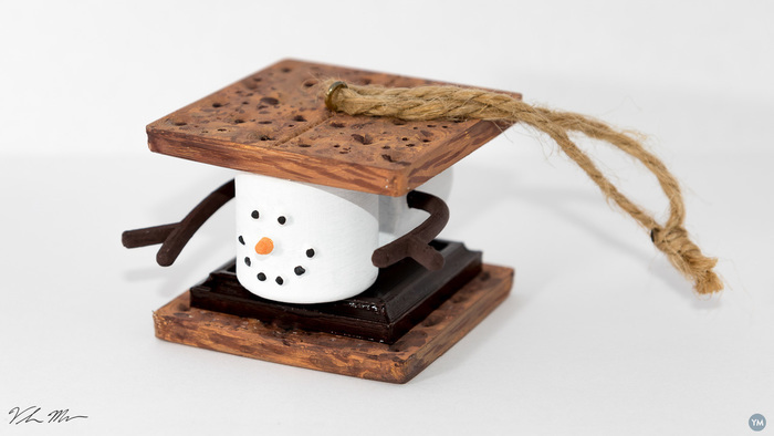 Marshmallow S'mores Christmas Ornament