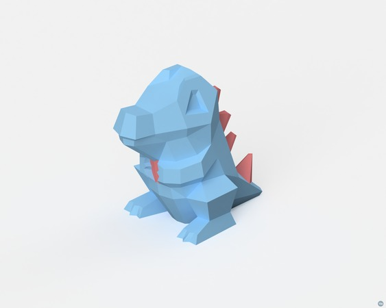 Low-Poly Totodile - Dual Extrusion version