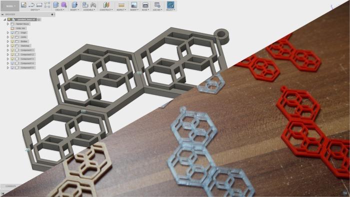 Hexagon Pendant and Earrings