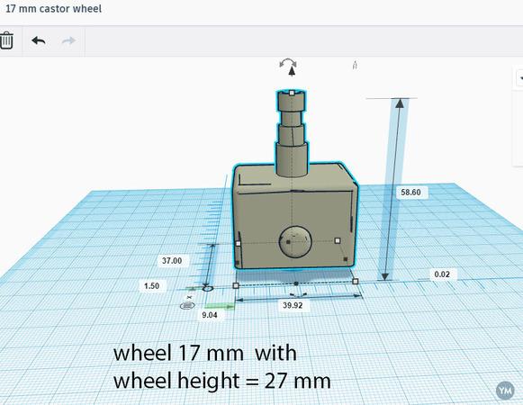 17 mm caster wheel
