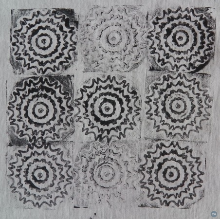 Playing with 3d printed textile stamps...