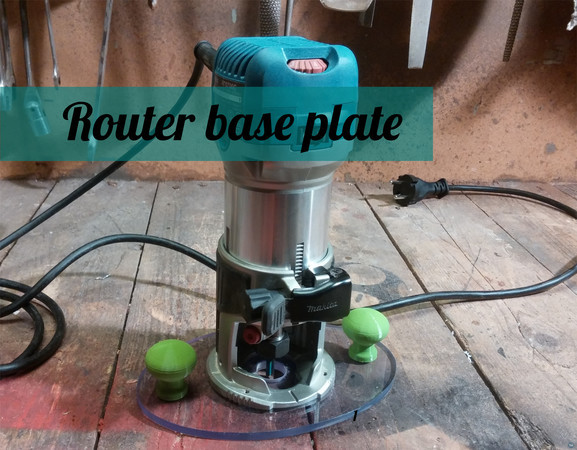 Router base plate template and knobs