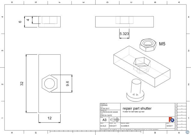 Repair part for in-wall belt take-up reel (shutter)