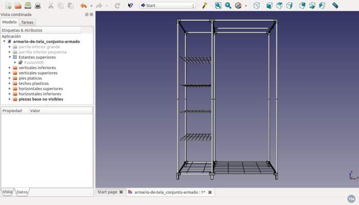 Modelo FreeCad de armario de tela desmontable