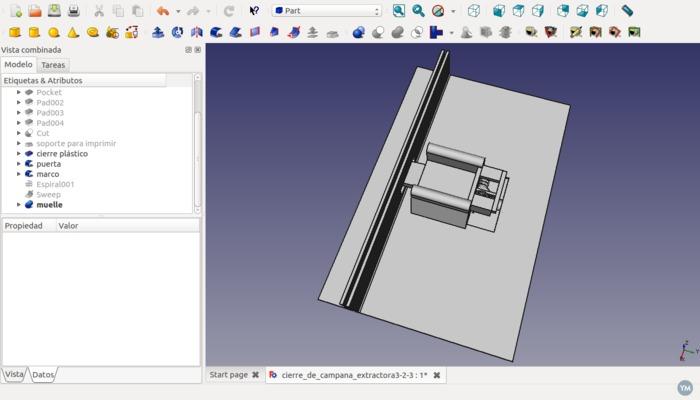 Modelo FreeCad de cierre de campana extractora