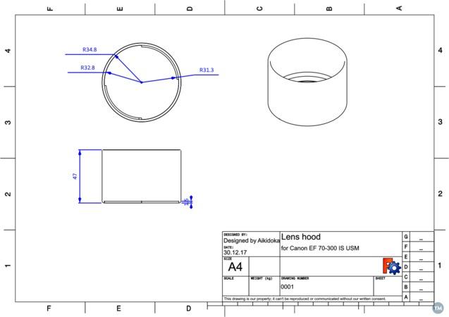 Lens hood for Canon zoom lens EF 70-300mm 1:4-5.6 IS USM
