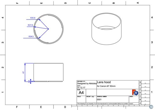 Lens hood for Canon lens EF 50mm 1:1.4