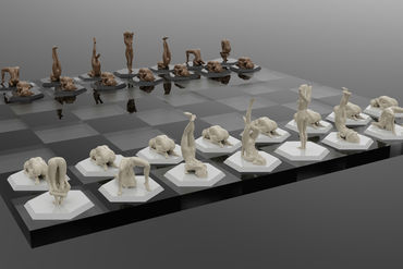 chess pieces girl with Naked