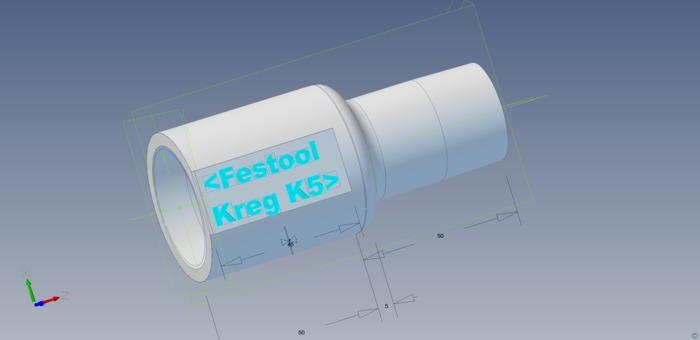 Kreg K5 jig adapter to Kärcher and Festool 36mm vacuum cleaner hoses.