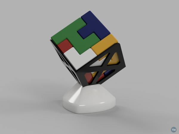 4x4 Cube Puzzle and Holder
