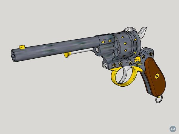 Lefaucheux M1858 3rd Type 12mm 6Shoot Cherry Blossom and Mt Fuji (3D Print Kit Toy Gun)