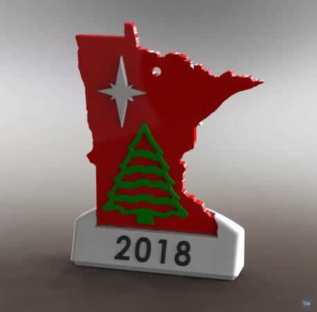 Minnesota Christmas Ornament With Named Base