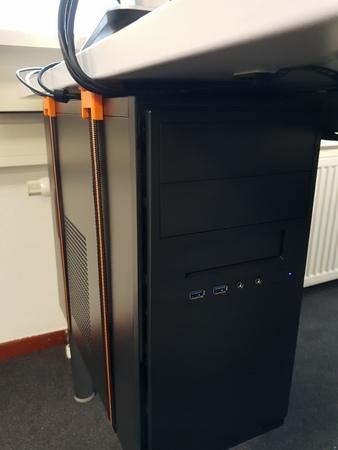 Desktop PC strap brackets/ floor suspender