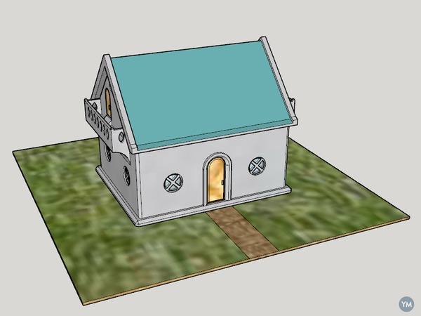 Concrete 3D Print 1DK Miniature House Model