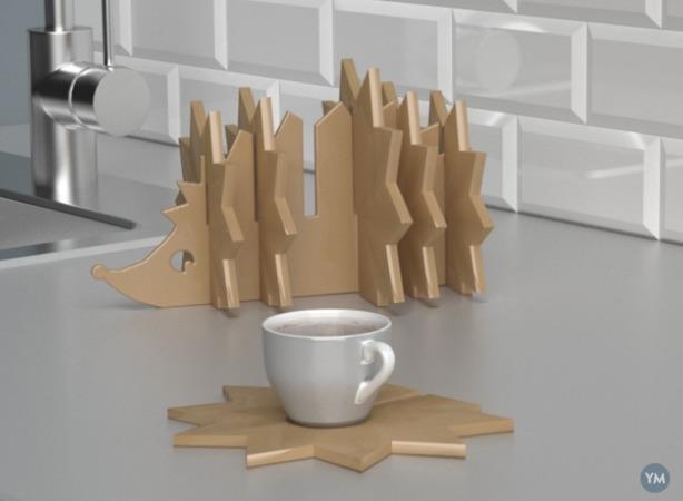 Coasters Set Hedgehog created In SelfCAD