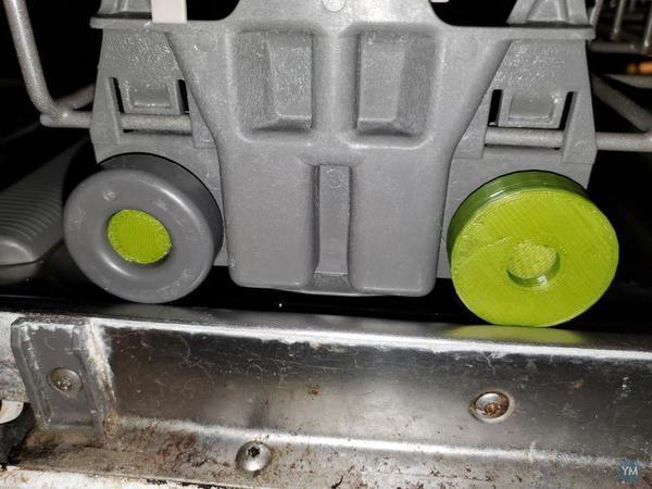 Dishwasher wheel and peg