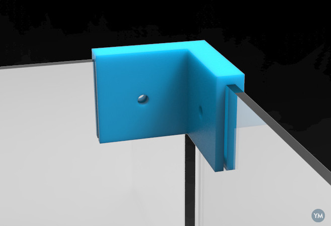 """Corner Connector 2-Way for 0.1"""" (2.5mm) panels, with hole for pop-rivet."""