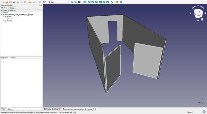 Modelo FreeCad de mecanismo de puertas de garaje