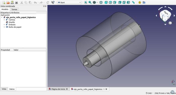 Modelo FreeCad de eje de porta rollo de papel higiénico
