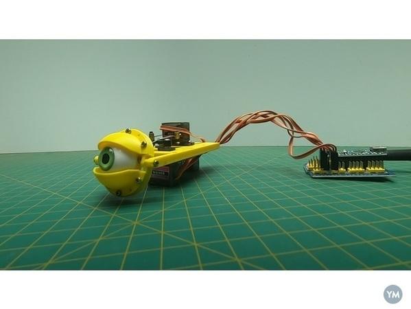 Assembling the animatronic eye mechanism