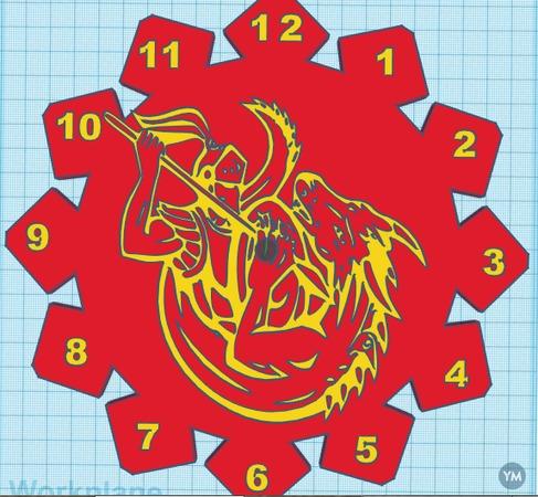 CLOCKS MEDIEVAL KNIGHT AND DRAGON FIGHTS, SKULL COMBO