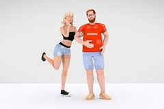 3790 Lowpoly Style Downtown Couple 3d Characters