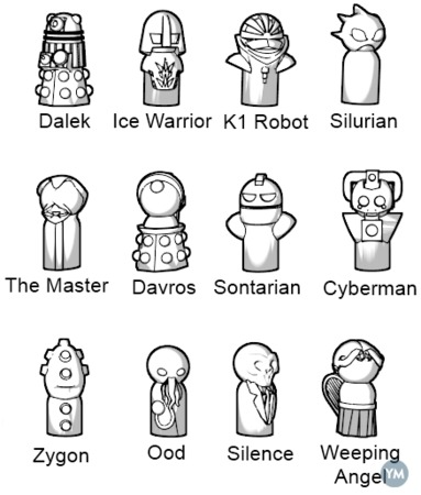 Doctor Who Monster Pawns