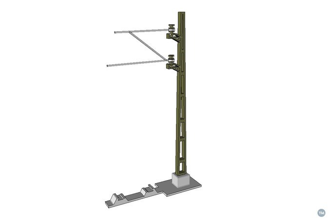 Catenary Mast for model railway (1:32, OpenRailway)