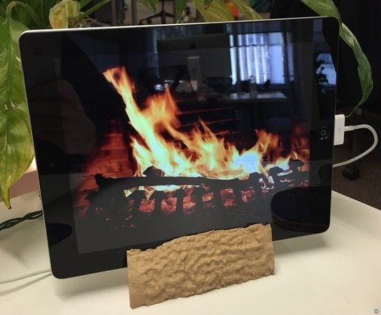 Wooden Log iPad Stand