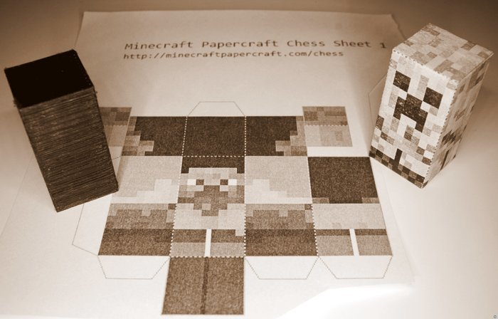 Papercraft Chess Mini Minecraft cores