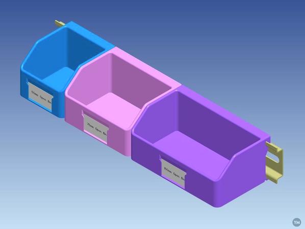 DIN Rail Mounted Open Top Storage Bins