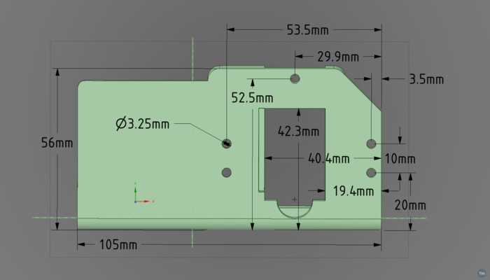 BullDog XL Extruder Model with Dimensions