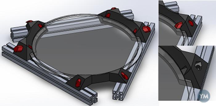 Kossel Mini Glass+heatbed Holder