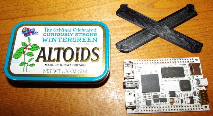 Altoids snap-in sled for miniSpartan6+ FPGA board