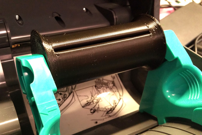 Custom spool for label printers
