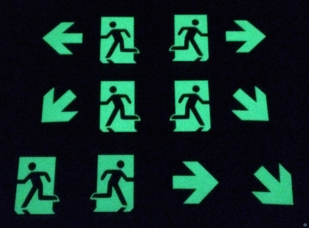 Self glowing (luminescent) Exit-, First- and Medical-Aid Signs