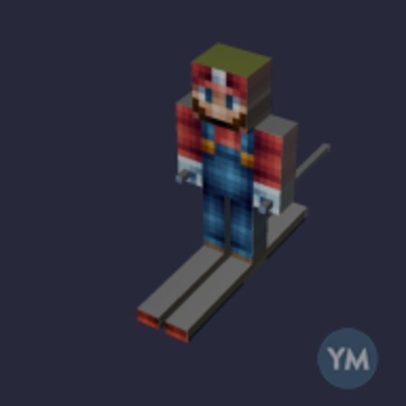 Disrupted Minecraft - Mario is skiing