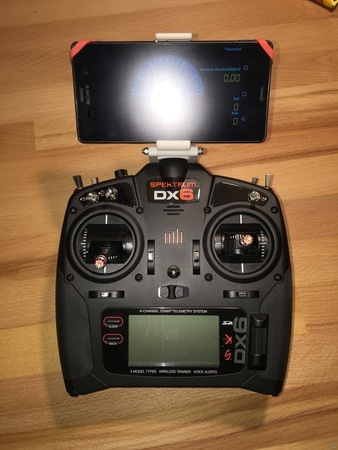 Smartphone holder for Spektrum DX6