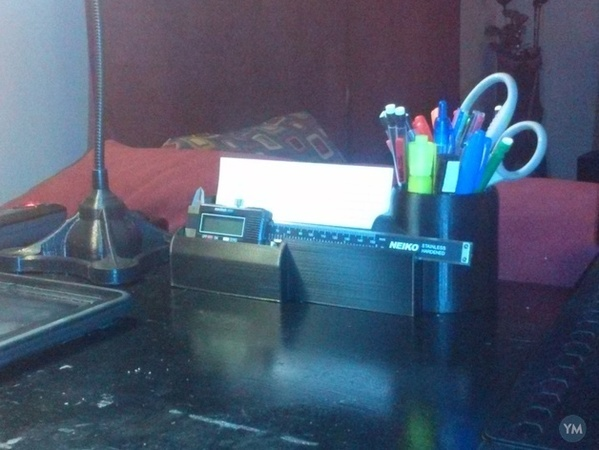 Desk Organizer for Pens, Index Cards, and Caliper