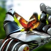 Span2 3d robot hand and buterfly wallpaper hd wallpaper